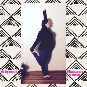 liveinprana #sweatpink yoga quad stretch