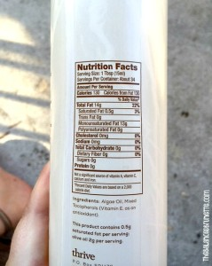 ThriveAlgae Oil Nutrition Facts