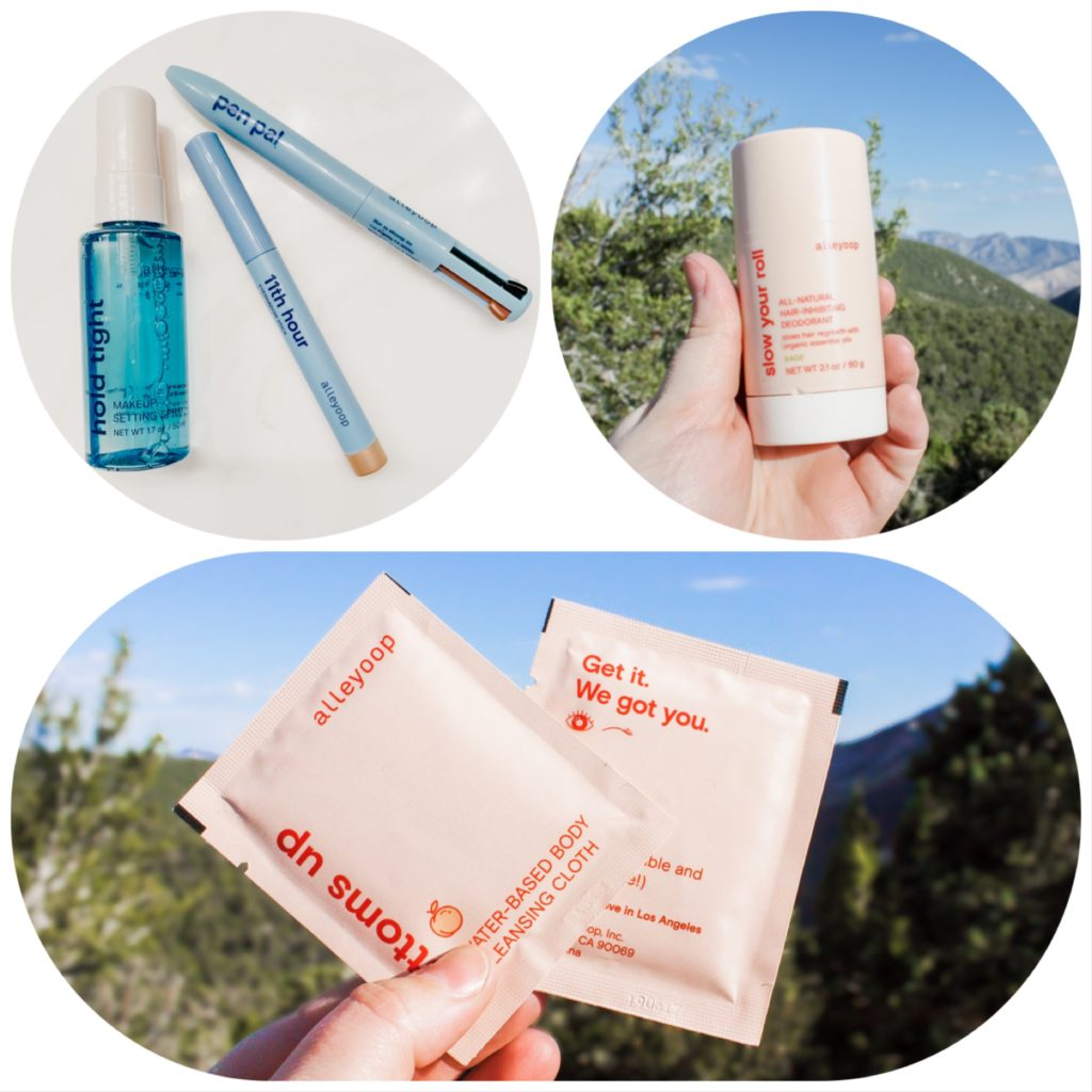 pictured from top left: hold tight [setting spray], 11th hour in baby pearl [eyeshadow stick that I use as highlighter], pen pal 4-in-1, slow your roll in sage [aluminum-free deodorant], bottoms up [biodegradable body cleansing cloths]
